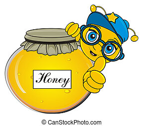 bee with bank of honey - muzzle of bee peek up from closed...