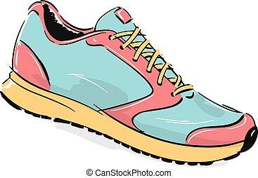 Running Shoe Fashion Style Illustration - Fashion based...