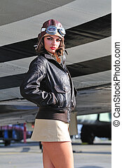 Sexy female aviator - Sultry female aviator wearing leather...