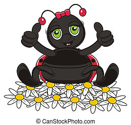 happy and smiling ladybug - v sit on the many of chamomile...