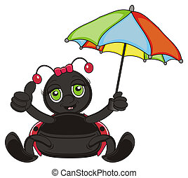 happy and smiling ladybug - v hold an umbrella and show...