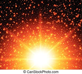 Abstract warm background, sunny star vector design.