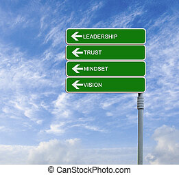Road sign with  word leadership and trust