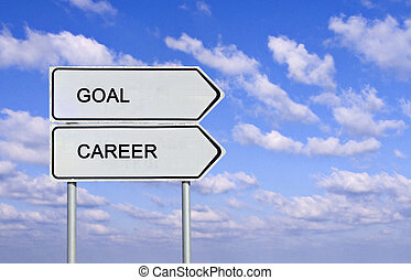 Road signs to goal and career