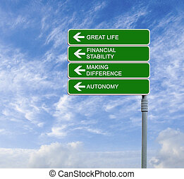 Road sign to great life