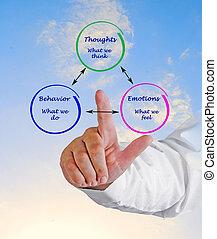 emoções, comportamento, cognição, relacionamento, entre
