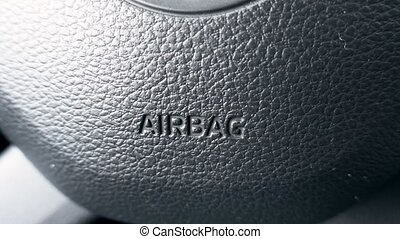 AIRBAG on the steering wheel going out of focus - Close up...