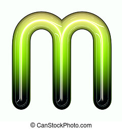 green shiny glossy 3d child funny bubble alphabet font M