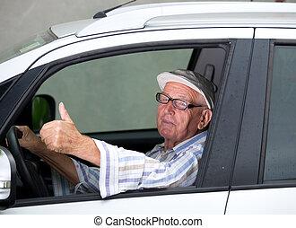 Old man driving car - Smiling senior man driving car and...