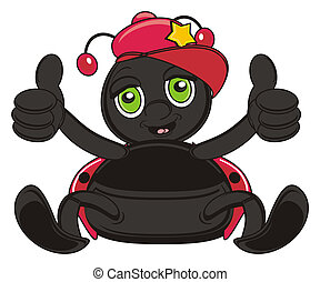 happy and smiling ladybug - ladybug in red cap show gesture...