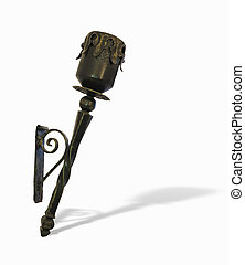 Old copper torch isolated over white background
