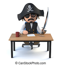 3d Pirate captain sits at his desk - 3d render of a cute...