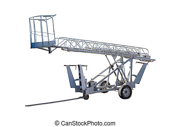 Wheeled articulated boom lift with lattice boom and basket -...