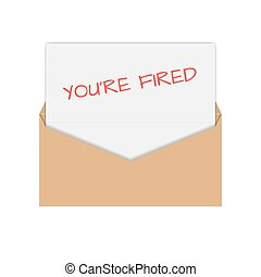 Icon you are fired, vector illustration - Realistic envelope...