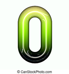 green shiny glossy 3d child funny bubble alphabet font O