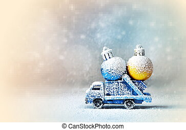 Truck car carries Cristmas ball for Christmas trees. -...