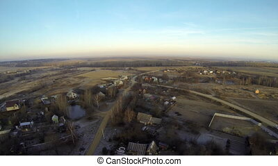 Rural landscape in autumn. Top view - Top view of rural...
