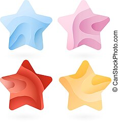 Set of Colorful stars stripped color. Vector illustration