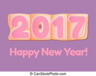 Happy New Year 2017 scoreboard vector illustration.