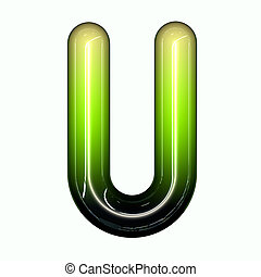 green shiny glossy 3d child funny bubble alphabet font U