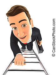 3d businessman climbing up the ladder
