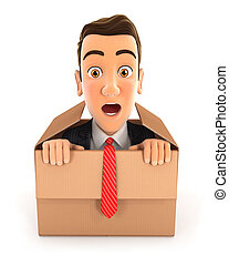 3d businessman coming out of the box, illustration with...