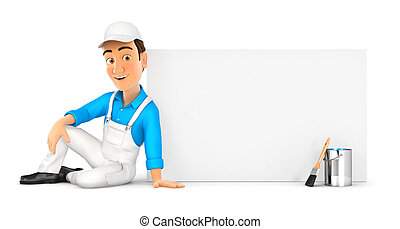 3d painter sitting next to blank wall, illustration with...