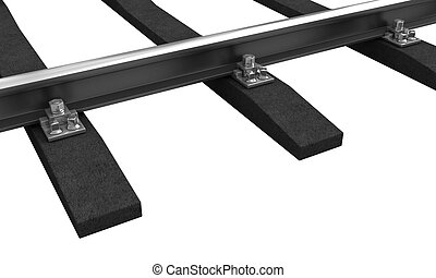 Train rail - 3d rendering of train rail isolated over white...