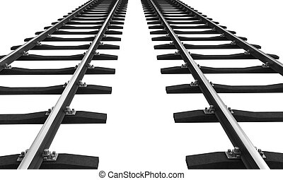 Train rails - 3d rendering of train rails isolated over...