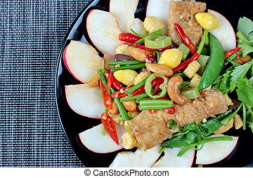 Fried ginkgo and mixed vegetables.