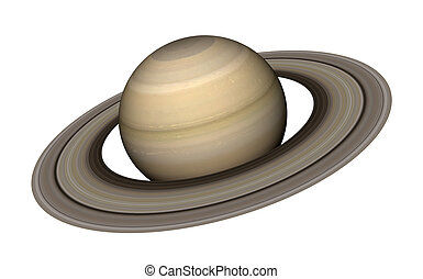 Saturn - 3d rendering of the planet Saturn isolated over...