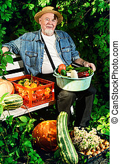 different vegetables - Happy senior man with great harvest...