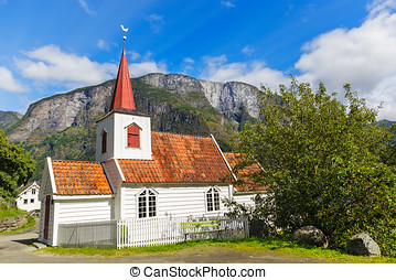 Undredal Stave churchl, Norway. Built in 12th century, it is...