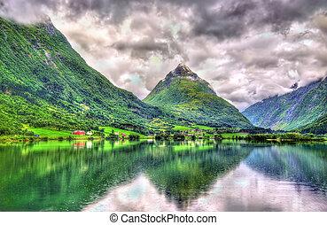 Bergheimsvatnet lake in Norway, Sogn og Fjordane county -...
