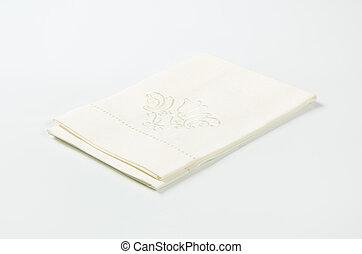 embroidered white napkin - white cotton napkin with...