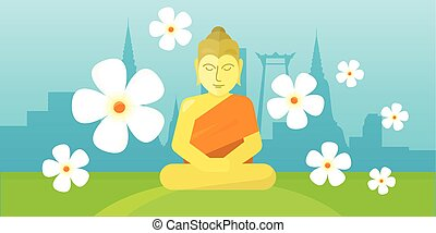 Thai god Buddha sit on meadow over city landscape. - Thai...