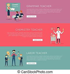 Set of Banners with Different Teaches Professions -...