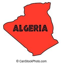 Algeria Silhouette Map - Algeria outline in silhouette over...