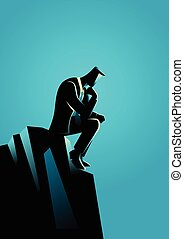 Businessman Thinking For Solution - Business illustration of...