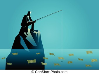 Businessman fishing for money