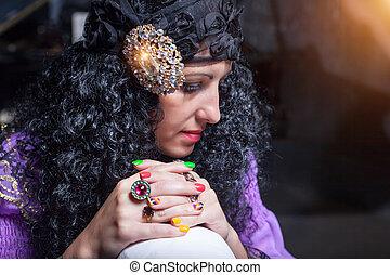 Sorceress telling fortunes - Portrait of sorceress telling...