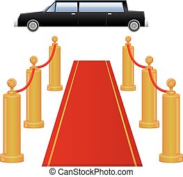 Limousine car and red carpet vector - Vector illustration of...