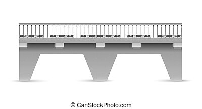 Vector road concrete bridge on a white background. The span...