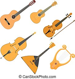 Vector color set of acoustic stringed musical instruments on a white background. Isolate.