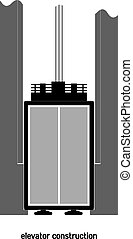 Vector illustration of a concept of the elevator device in...