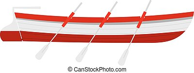 Vector illustration of a rescue boat with wooden oars red on...