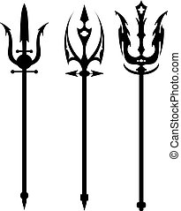Set vector illustration of abstract black trident on a white...