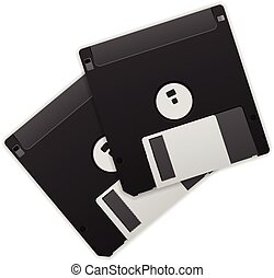 Diskettes on a white background.