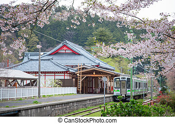 Yahiko Station in Yahiko, Niigata, Japan. - Yahiko Station...