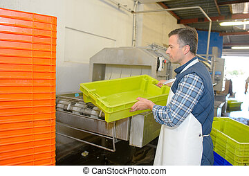 laborer cleaning plastic crates
